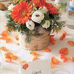 Orange Gerber Daisy and Pink Butterflies wedding