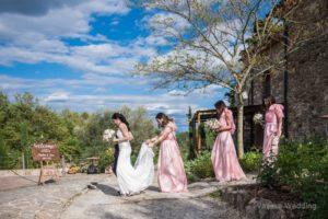pink bridesmaids dresses tuscany wedding