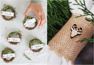 winter wedding ideas rosemary and wood place cards
