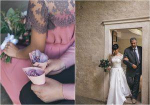 intimate wedding in italy petals confetti cones