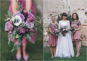 mauve and lilac bridesmaids dresses and bridesmaids bouquets