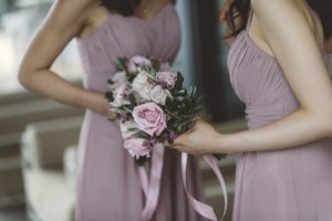 dusty rose and purple bridesmaids bouquet italy wedding