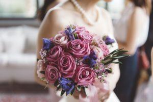 purple and blue wedding bouquet