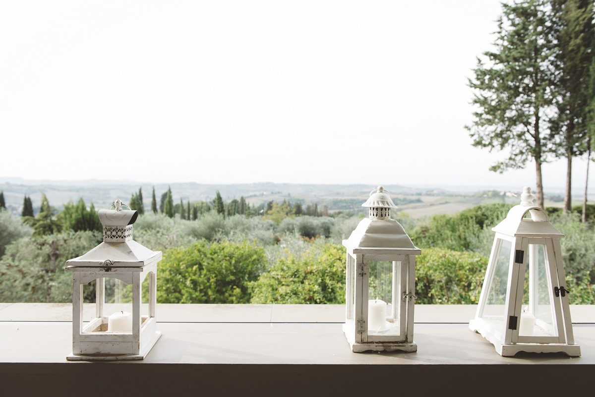 view on the tuscan hills wedding
